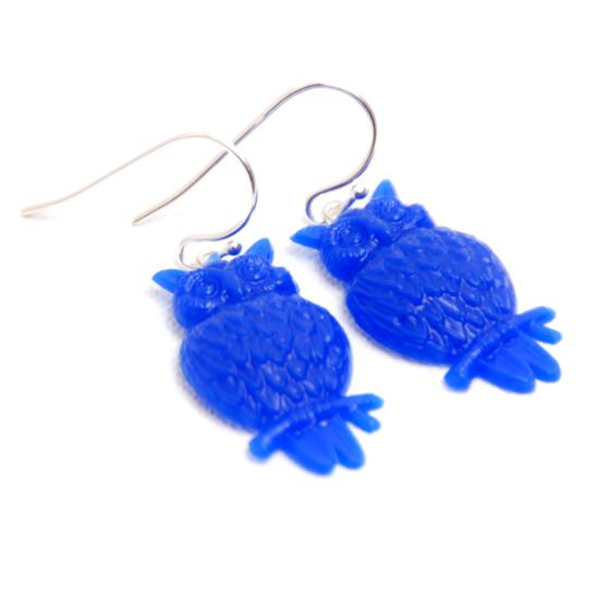 Earrings Owl (blue)