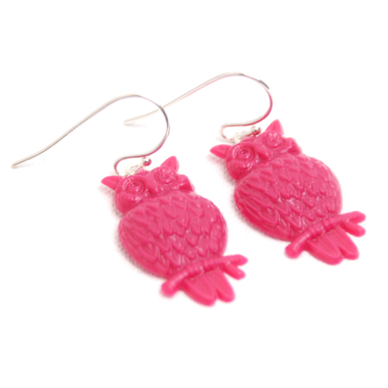 Earrings Owl (pink)