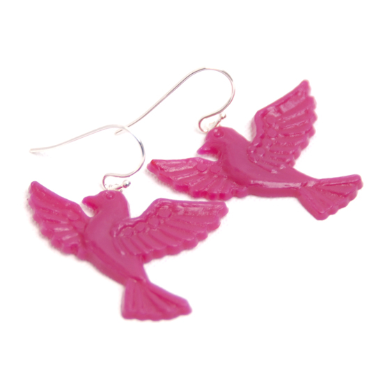 Earrings Flying Bird (pink)