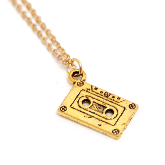 Necklace Cassett Tape (gold)