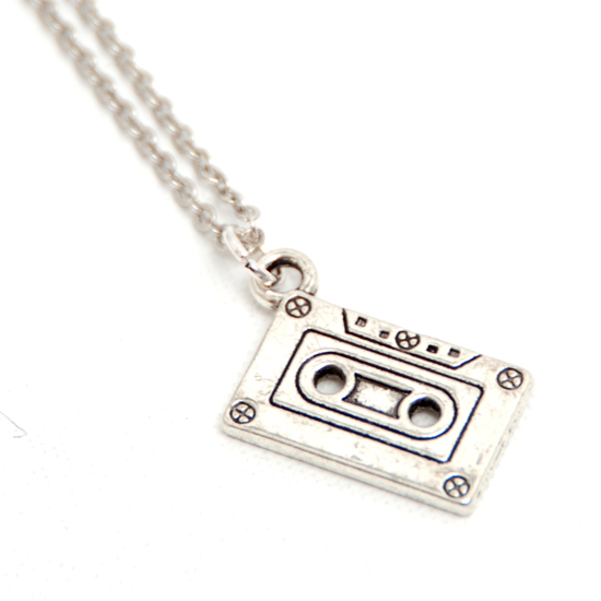 Necklace Cassett Tape (silver)