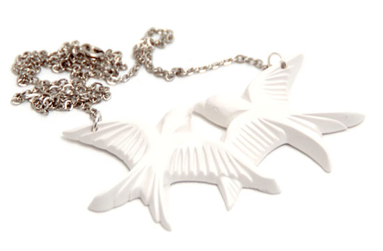 Necklace Love Swallows (white)