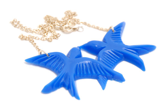 Necklace Love Swallows (blue)