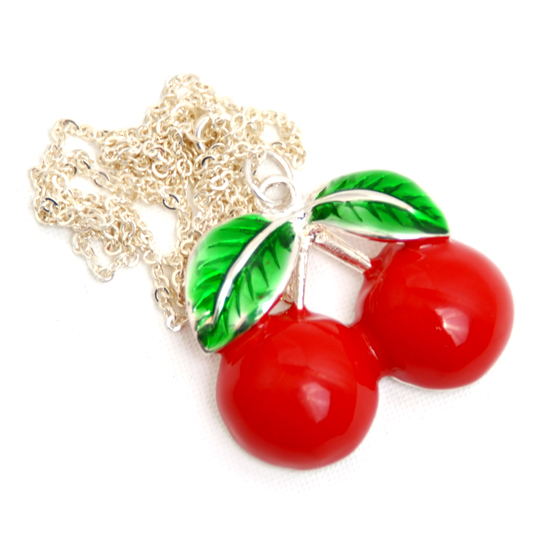 Necklace Cherry Enamel