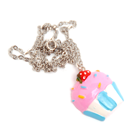 Necklace Cupcake (pink/blue)