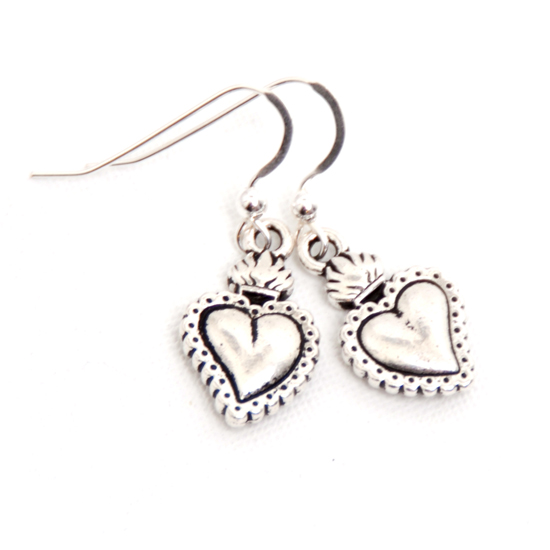 Earrings Flaming Heart (silver)