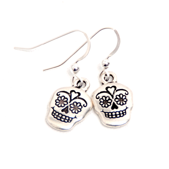 Earrings Sugar Skull (silver)