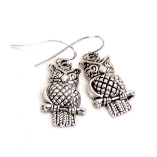Earrings Owl 8 (silver)