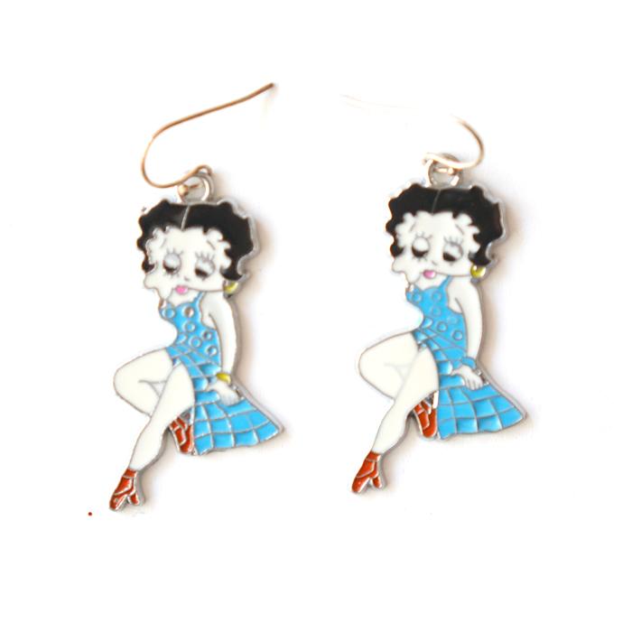 Earring Betty Boop, blue