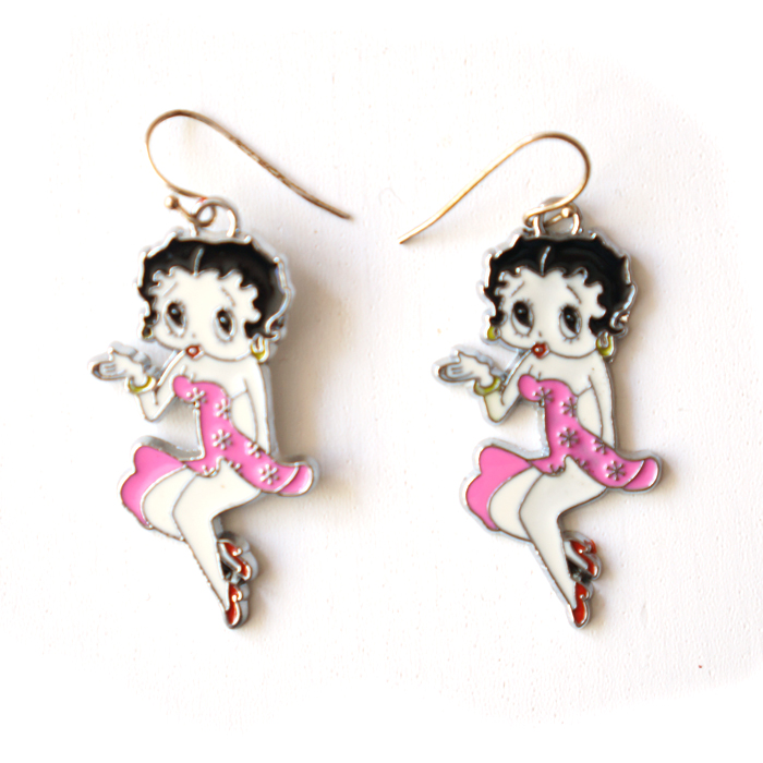 Earring Betty Boop, pink dress