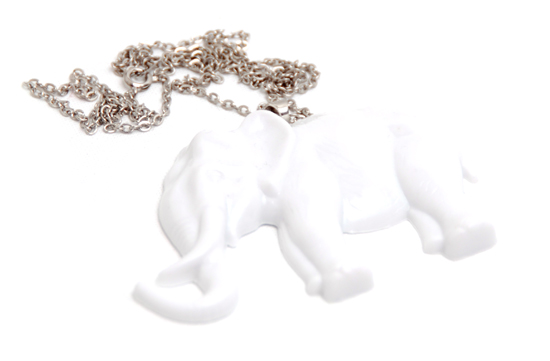 Necklace Elephant 3D (white)