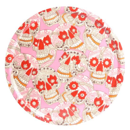 Pyöreä Tarjotin 45 cm Pääkalloja (vaaleanpunainen)