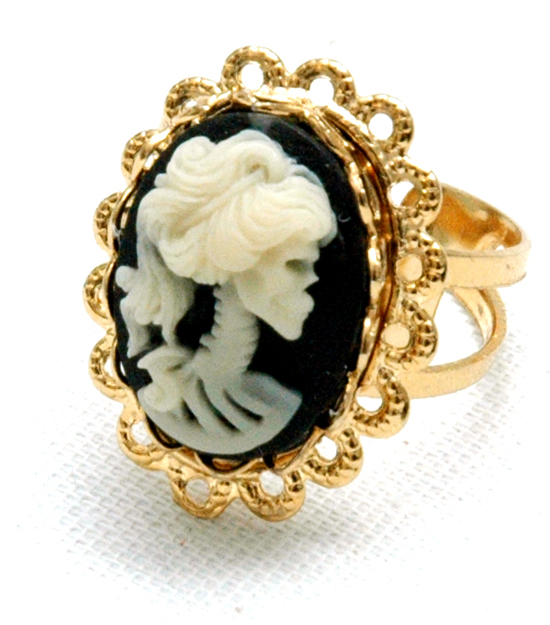 Ring Sweet Skull Cameo (gold/black)