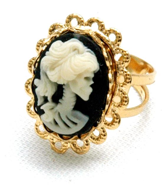 Ring Sweet Skull Cameo (guld/svart)