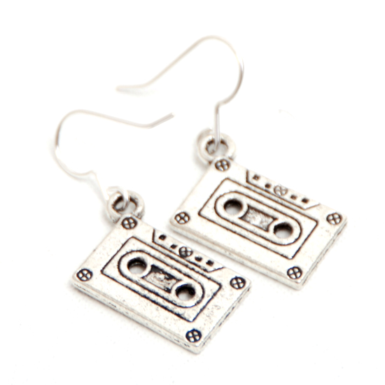 Earrings Cassett Tape (silver)