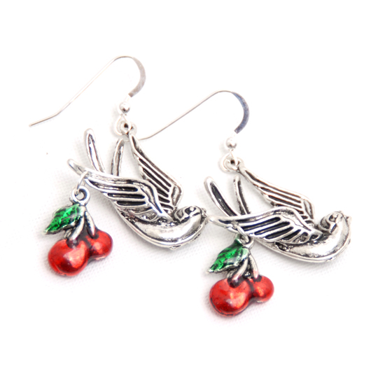 Earrings Swallow/Cherry