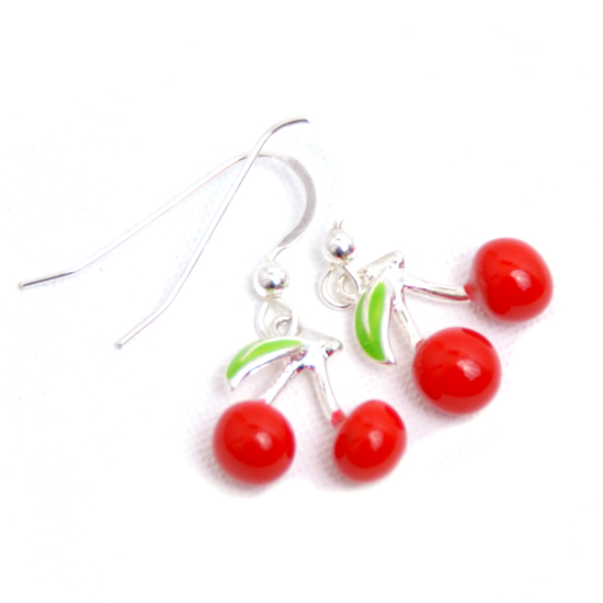 Earrings Cherry (enamel)