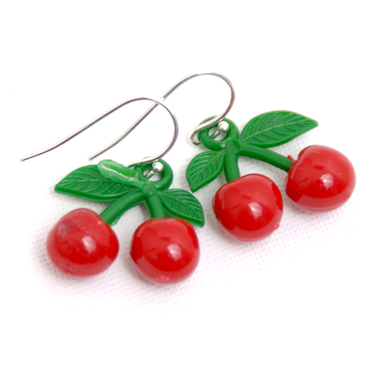 Earrings Cherry Rockabilly