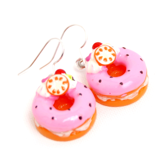 Earrings Donuts Big (pink)