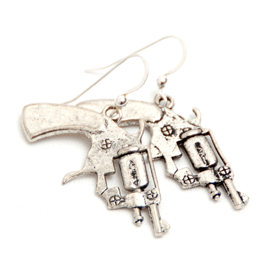 Earrings Pistols Big (silver)