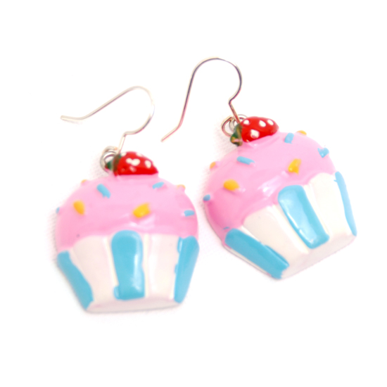 Earrings Cupcake (pink/blue)