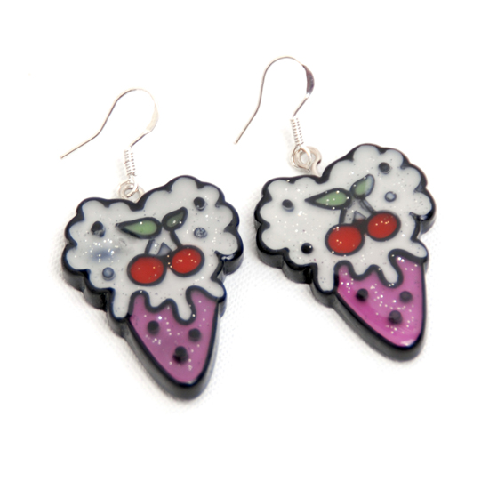 Earrings Icecream Cherry Bling
