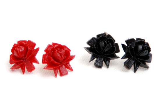 Earrings Rose (black/red/white)