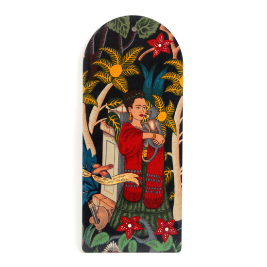 Cutting Board Frida Kahlo (black w monkey)