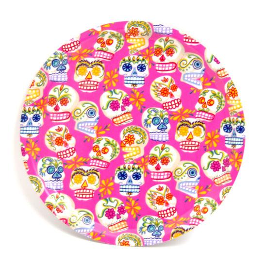 Rund Bricka 31 cm Sugar skulls (rosa)