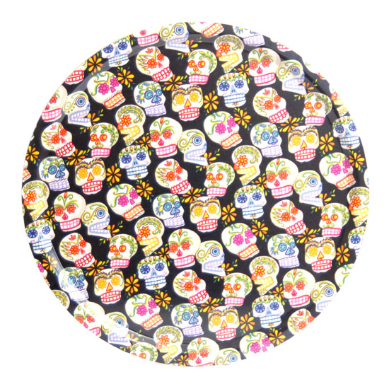 Round tray 45 cm Sugar skulls (black)