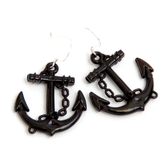 Earrings Sailor (black big)