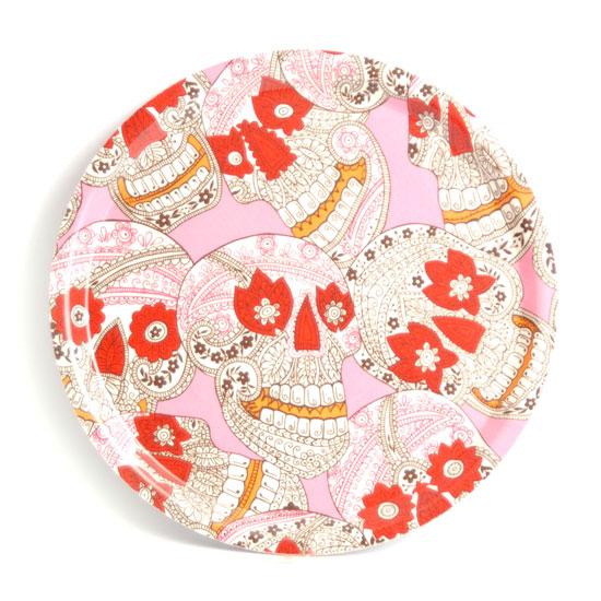 Rund Bricka 31 cm Dödskallar batik (rosa)