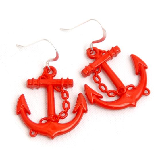 Örhängen Sailor (röda stora)