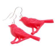 Earrings Bird on a branch (pink)
