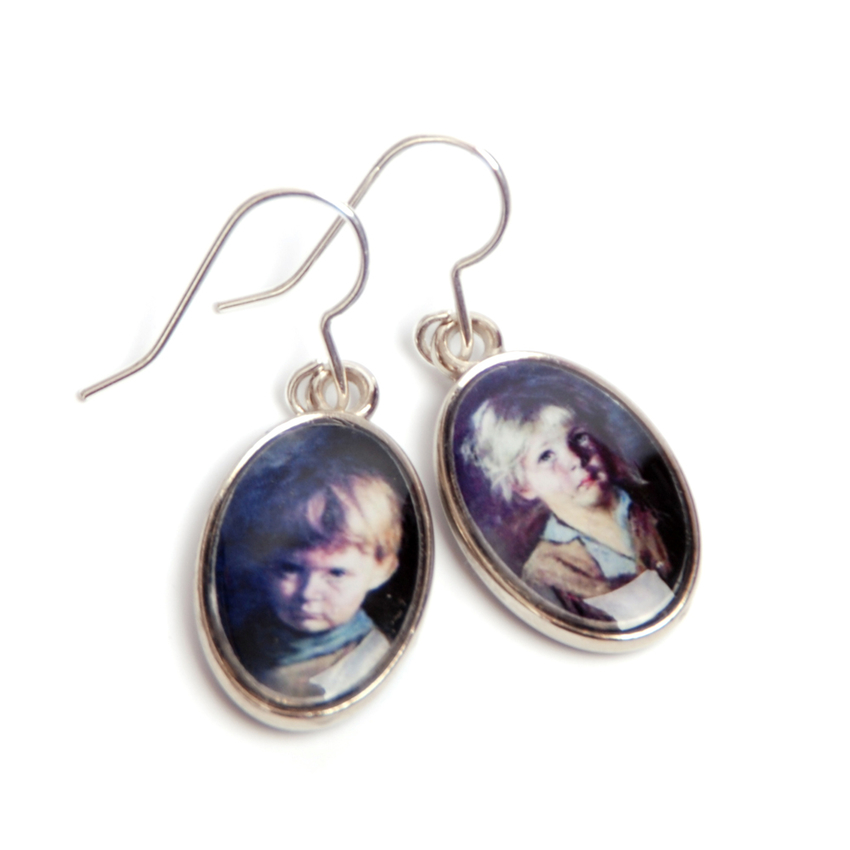 Earrings Crying Children Kitsch