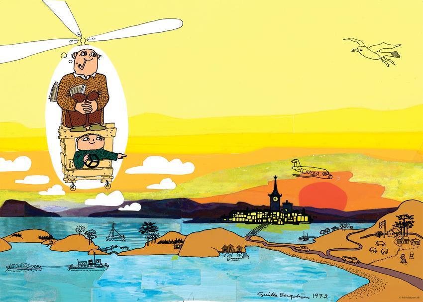 Affisch Alfons Åberg, helikopter 50x70 cm