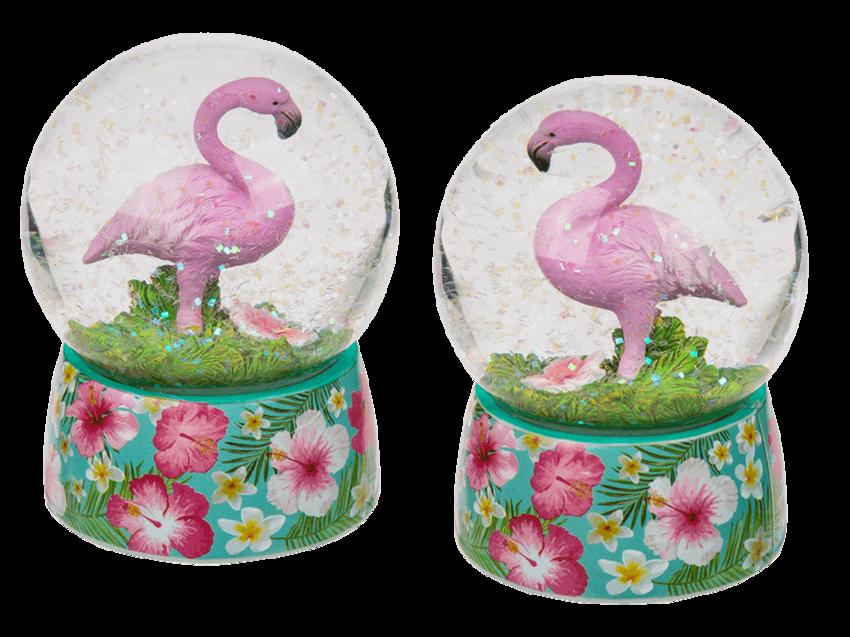 Glitterglob med flamingo