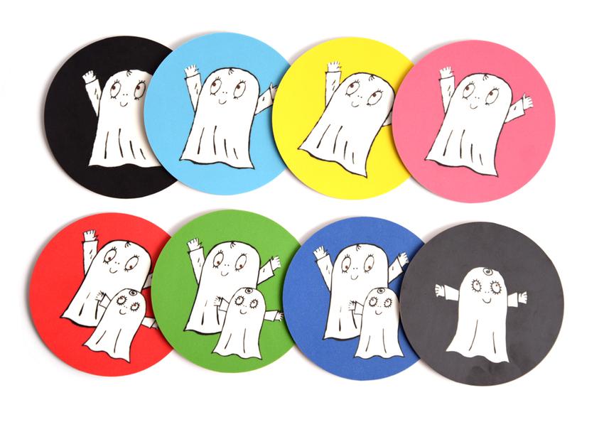 Glasunderlägg Spöket Laban båda (mörkblå)