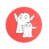 Glasunderlägg Spöket Laban båda (röd)