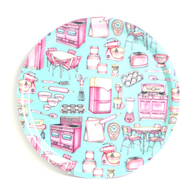 Round Tray 31 cm Pink Blue Kitchen utensils