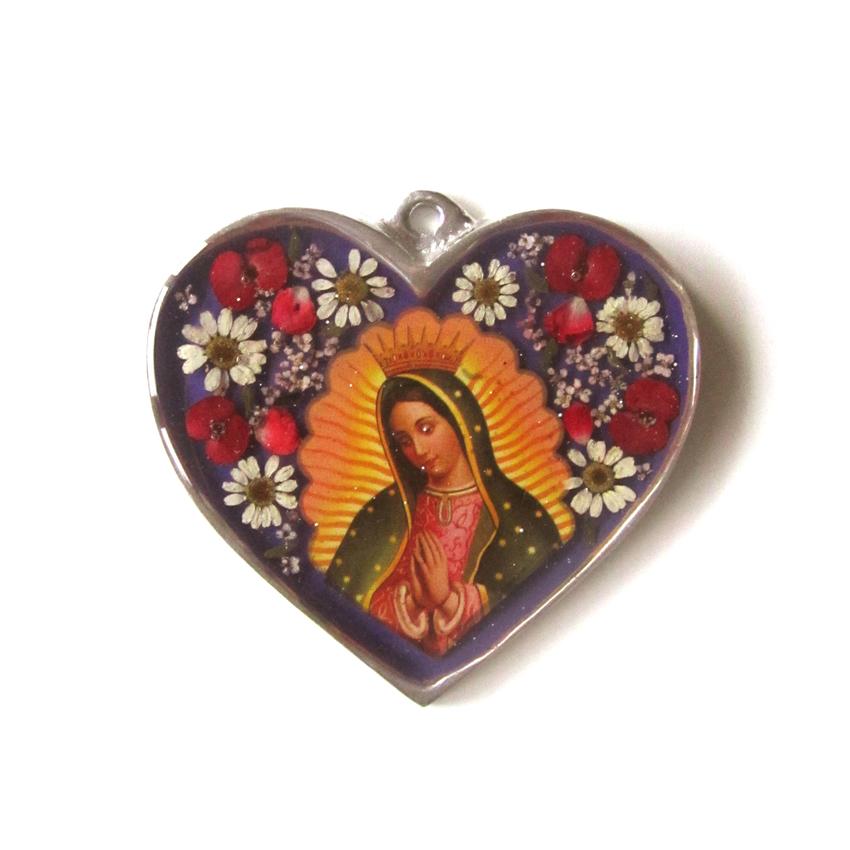 Väggprydnad glas hjärta Guadalupe