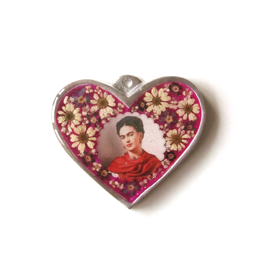 Seinä ornamentti glass heart Frida Kahlo