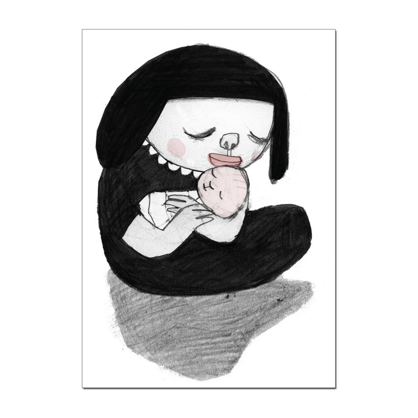 """Vykort Nina Hemmingsson """"Mamma med barn"""""""