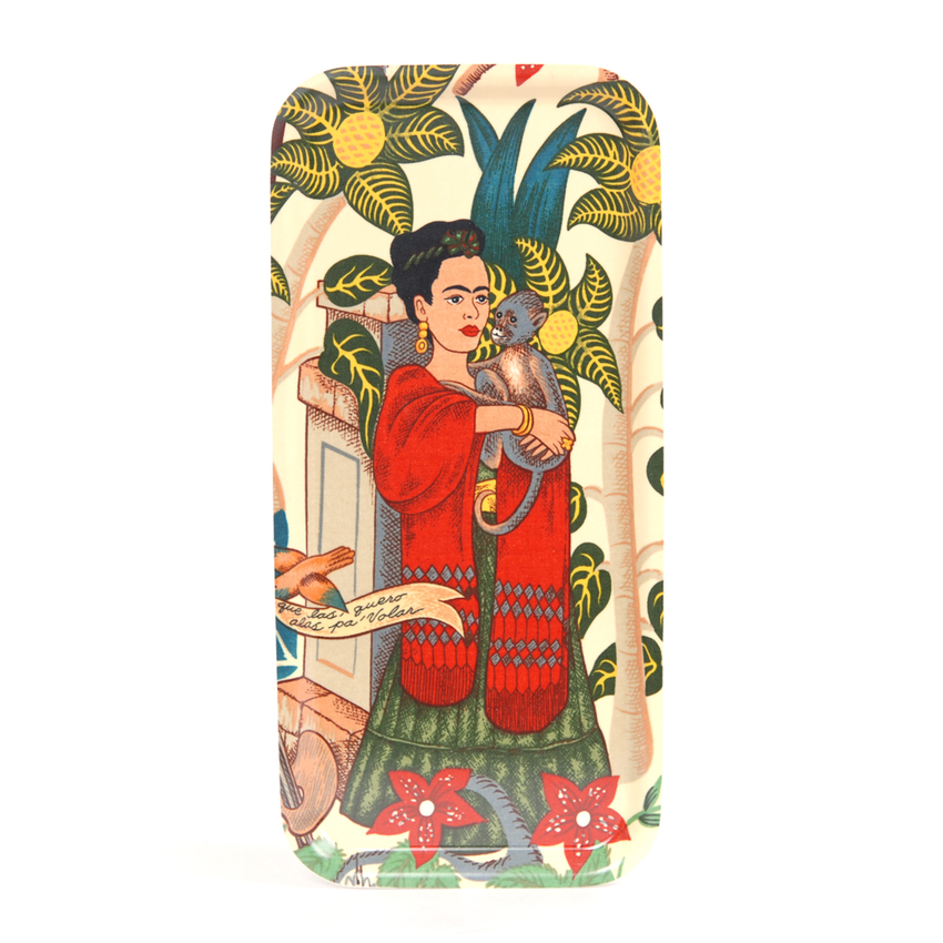 Tray 32x15 cm Frida Kahlo monkey (white)