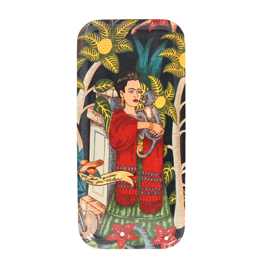 Tray 32x15 cm Frida Kahlo monkey (black)