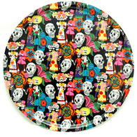 Round Tray 65 cm Day of the dead (black)