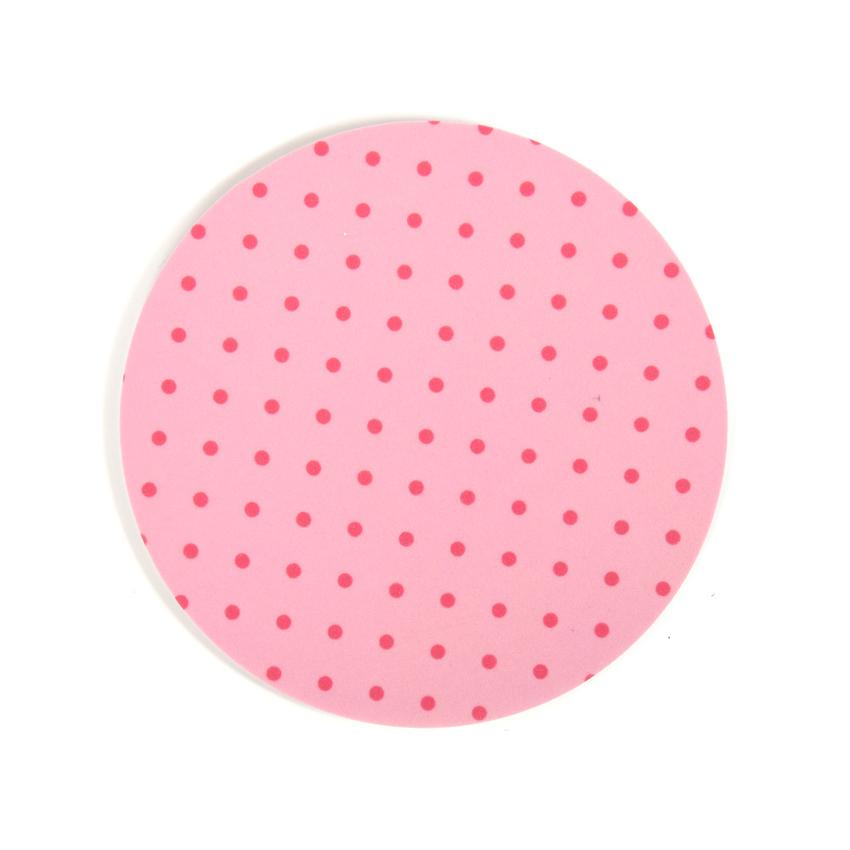 Glasunderlägg Prick rund (ljusrosa)