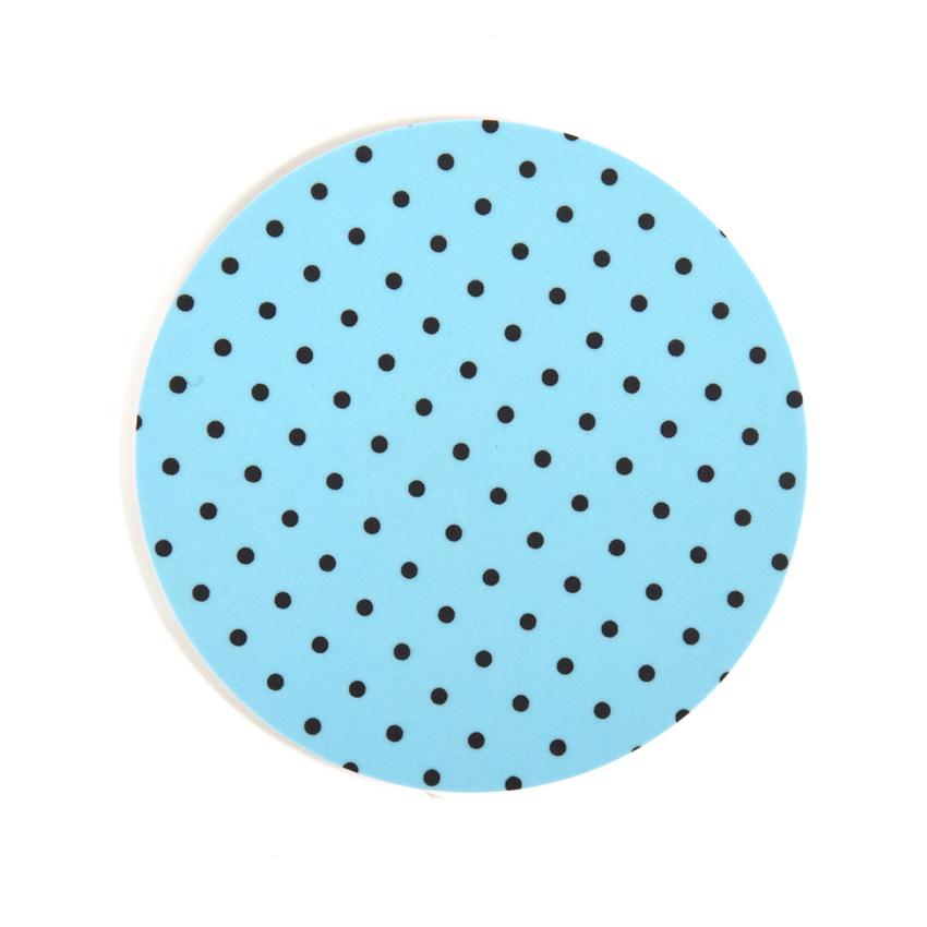 Glasunderlägg Prick rund (ljusblå)