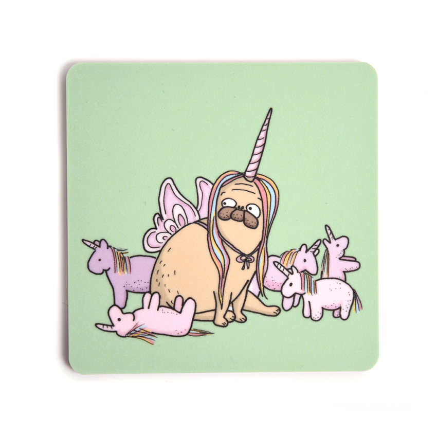 Coaster Lilla Berlin Pug-unicorn
