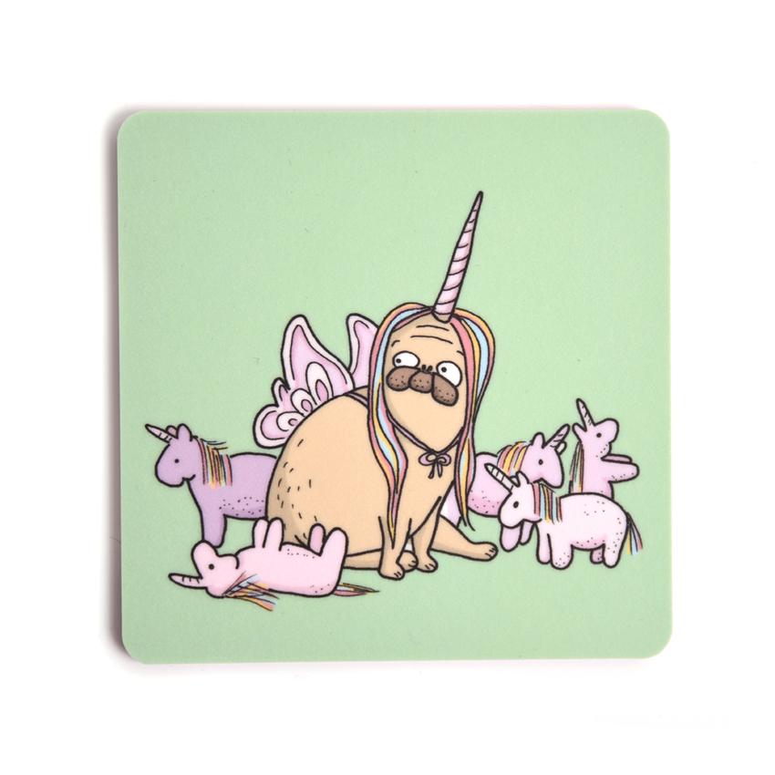 Glasunderlägg Lilla Berlin Mops-unicorn